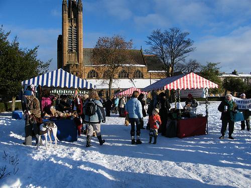 Portobello Organic Market in the snow